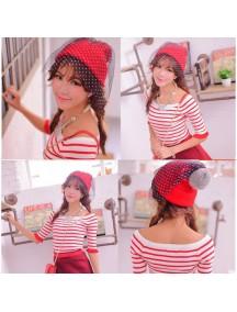 HO3051 - Topi Rajut Retro Kasa (Merah)