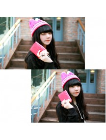 HO3062 - Topi Rajut Kitty Strip (Pink)