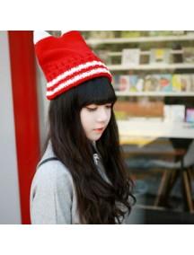 HO3063 - Topi Rajut Kitty Strip (Merah)