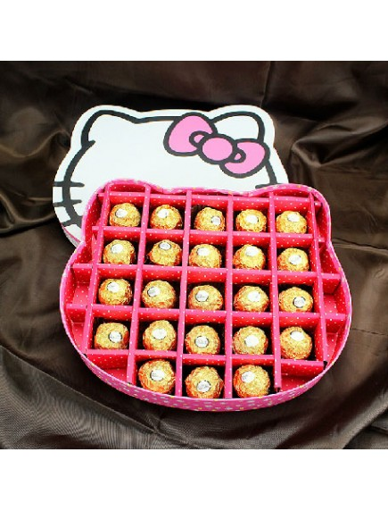 HO3084 - Gift Box Hello Kitty Handmade Chocolate, Ferero, Sugar etc isi 20