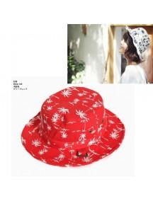 HO3268 - Topi Bucket Palm Motif (Merah)