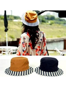 HO3281B - Topi Bucket Hat Strip Japan Lady (Navy Blue)