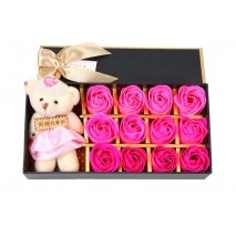 HO3938 - Valentine/Wedding/Birthday/MotherDay Gift Special Flower Soap + Bear (Pink)