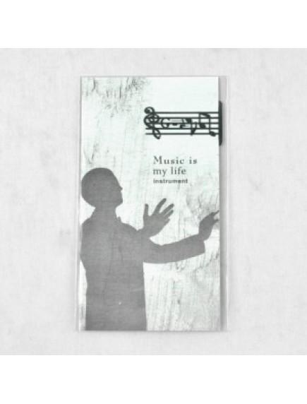 WA1353 - Pembatas Buku Stainless + Kartu Memo (Melody)