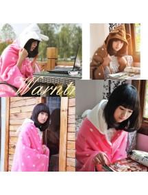 WA2363 - Selimut Jaket Penghangat Polkadot Rabbit ( Pink ) #HM