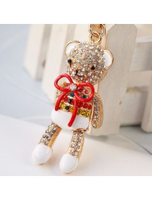 WA2510B - Gantungan Kunci Diamond Beruang ( Merah ) #C77
