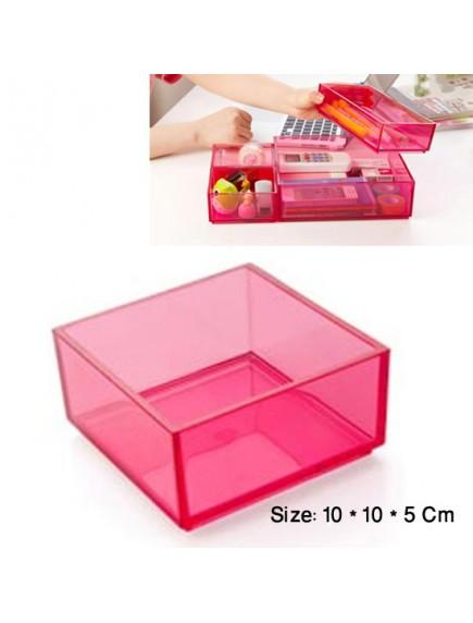 WA2744 - Storage Box Transparant Plastik 10*10*5 Cm (Pink)