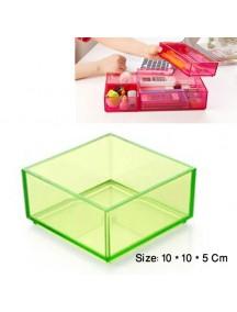 WA2744B - Storage Box Transparant Plastik 10*10*5 Cm (Hijau)