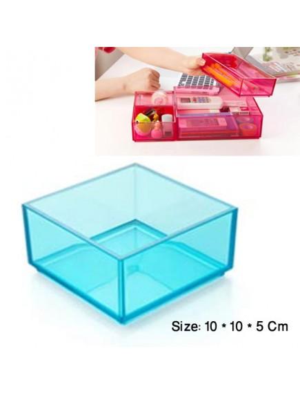 WA2744C - Storage Box Transparant Plastik 10*10*5 Cm (Biru)